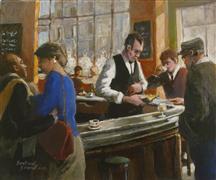 impressionism art,people art,city art,acrylic painting,Le Petit Blanc Sec