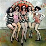 people art,pop culture art,oil painting,Gals