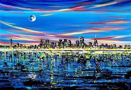 Architecture art,Landscape art,City art,acrylic painting,San Francisco Night