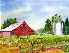 Architecture art,Landscape art,watercolor painting,Along the Russian River, Santa Rosa Co., California
