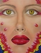 people art,surrealism art,oil painting,Ara Macao
