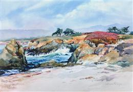 Landscape art,Nature art,Seascape art,watercolor painting,Beach at Fort Bragg, Mendocino