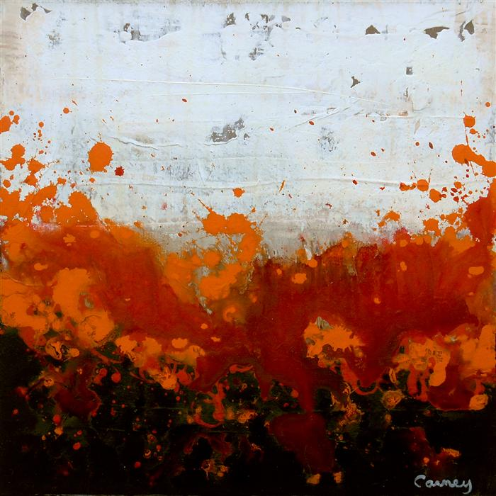 Original art for sale at UGallery.com | Fuzzy Saffron by LISA CARNEY | $320 | Acrylic painting | 12' h x 12' w | ..\art\acrylic-painting-Fuzzy-Saffron