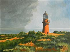 buildings art,landscape art,seascape art,oil painting,Gay Head Lighthouse