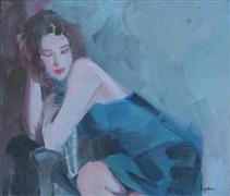 people art,oil painting,Blue Satin