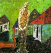 Architecture art,Expressionism art,acrylic painting,Villager