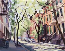 buildings art,impressionism art,city art,oil painting,Summer, West 4th St