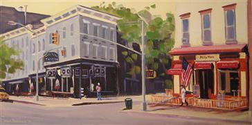 Architecture art,Landscape art,City art,oil painting,Summer Morning, Hudson St