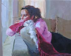 impressionism art,people art,oil painting,Day Dreams