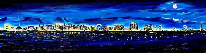 buildings art,landscape art,city art,acrylic painting,Vegas
