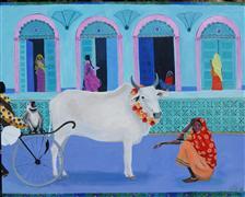 animals art,religion art,travel art,mixed media artwork,Holy Cow