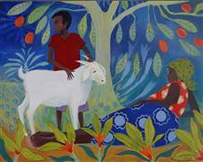 Children's art,Animals art,People art,acrylic painting,Goat Boy