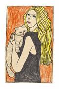 Expressionism art,Animals art,People art,mixed media artwork,Dede with Kitten