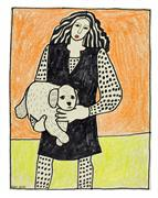 animals art,people art,mixed media artwork,Lulu with Coco