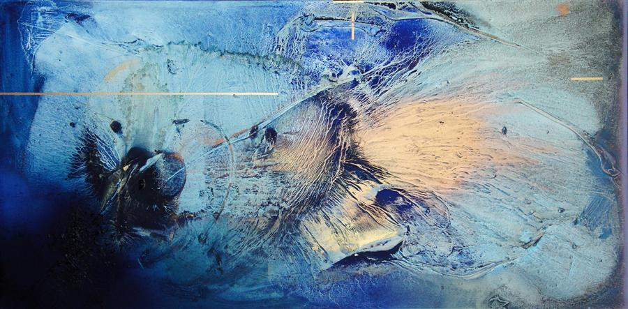 Original art for sale at UGallery.com | At Sea Between Fossils and Satellites 7 by MÉLISA TAYLOR | $4,600 | Mixed media artwork | 30' h x 60' w | ..\art\mixed-media-artwork-At-Sea-Between-Fossils-and-Satellites-7