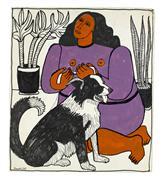 Expressionism art,Animals art,People art,mixed media artwork,Sasha Goes for Her Walk