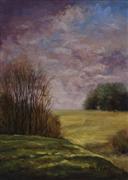 landscape art,nature art,oil painting,Morning Field