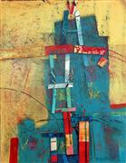 abstract art,buildings art,acrylic painting,No Big Hill to Climb