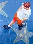 people art,pop culture art,city art,oil painting,Young Man on Hollywood Boulevard