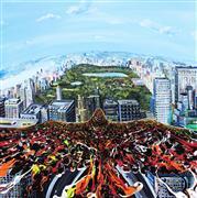fantasy art,animals art,landscape art,city art,acrylic painting,Flying Above