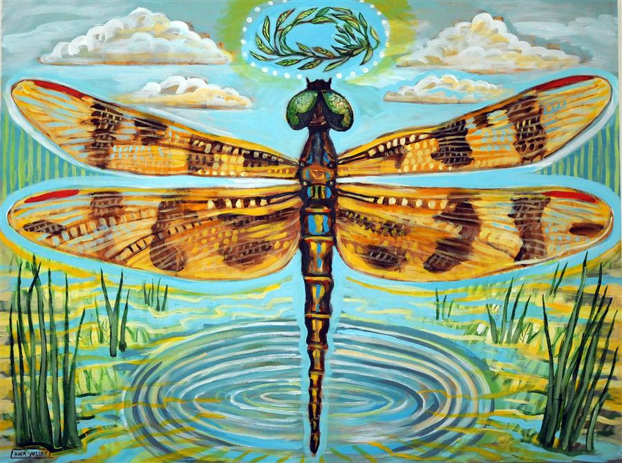 Original art for sale at UGallery.com | Golden Dragonfly by KIRA YUSTAK | $1,300 |  | 30' h x 40' w | ..\art\acrylic-painting-Golden-Dragonfly