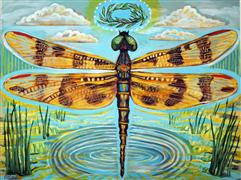 abstract art,nature art,acrylic painting,Golden Dragonfly