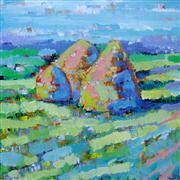 impressionism art,landscape art,nature art,acrylic painting,Haystacks