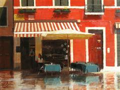 buildings art,impressionism art,travel art,oil painting,Cafe in Venice II