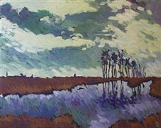 impressionism art,landscape art,nature art,acrylic painting,Dorchester Sunrise