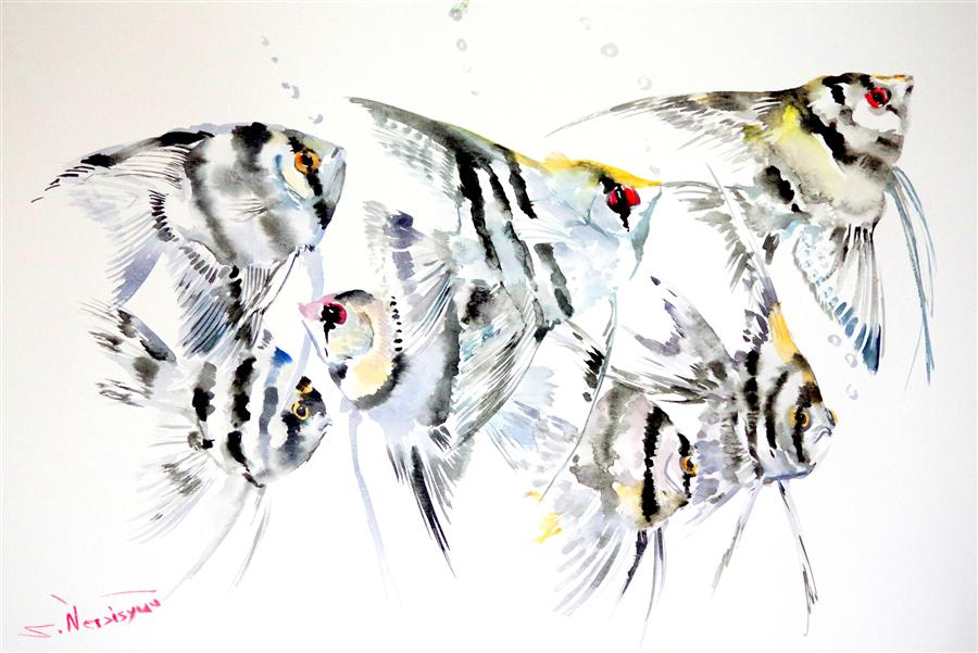 Original art for sale at UGallery.com | Scalar Fish (Grey Composition) by SUREN NERSISYAN | $375 | Watercolor painting | 12' h x 18' w | ..\art\watercolor-painting-Scalar-Fish-Grey-Composition