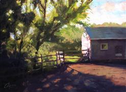 Impressionism art,Landscape art,Nature art,oil painting,Barn at Sunrise