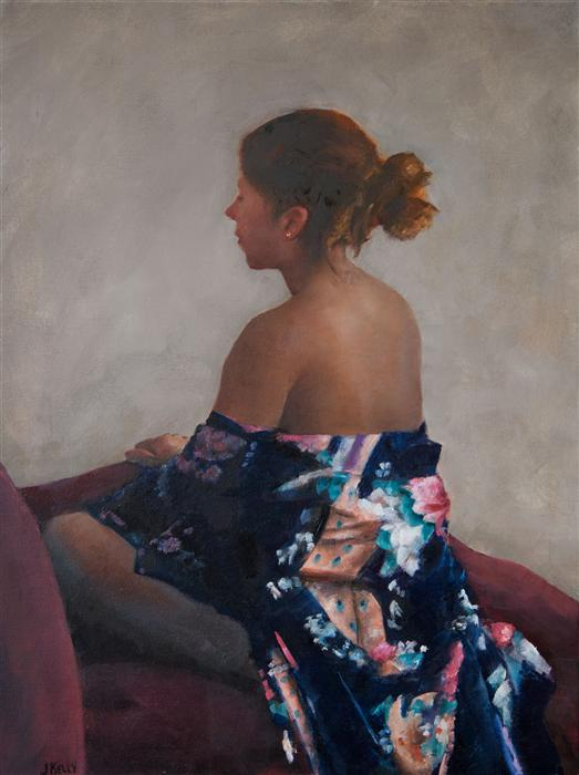 Original art for sale at UGallery.com | Woman in Kimono by JOHN KELLY | $2,000 |  | 24' h x 18' w | ..\art\oil-painting-Woman-in-Kimono
