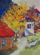 Architecture art,Impressionism art,Landscape art,oil painting,Yellow Fall Tree and Old Houses