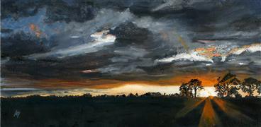 impressionism art,landscape art,nature art,oil painting,August Sunset