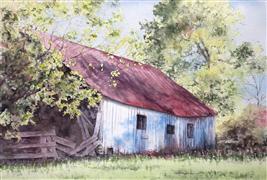 buildings art,landscape art,watercolor painting,Red Barn