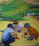 Children's art,People art,Seascape art,oil painting,Building Sand Castles