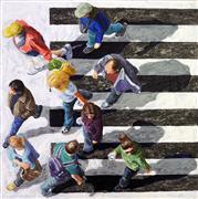 People art,City art,acrylic painting,Pedestrians 2014-62