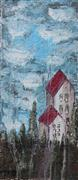 Architecture art,Landscape art,acrylic painting,Red Rooftops
