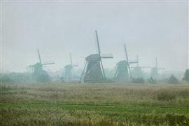 Architecture art,Travel art,photography,Windmills in Fog, the Netherlands
