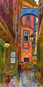Architecture art,Landscape art,City art,mixed media artwork,The Evening Is Coming - Alley in Vienna