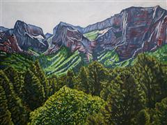 landscape art,travel art,oil painting,Spring Morning in Kolob Canyon