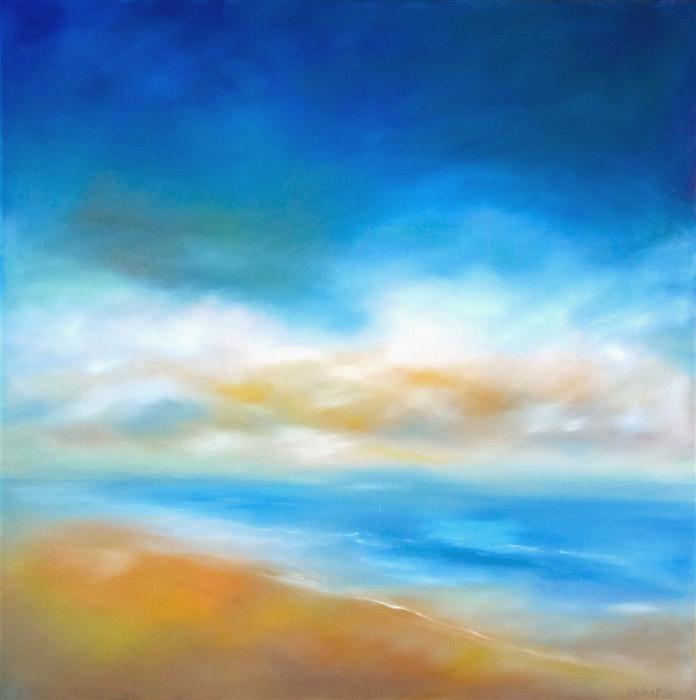 Original art for sale at UGallery.com | Daybreak Shore by NANCY HUGHES MILLER | $1,675 |  | 36' h x 36' w | ..\art\oil-painting-Daybreak-Shore