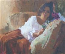 impressionism art,people art,oil painting,A Single Rose