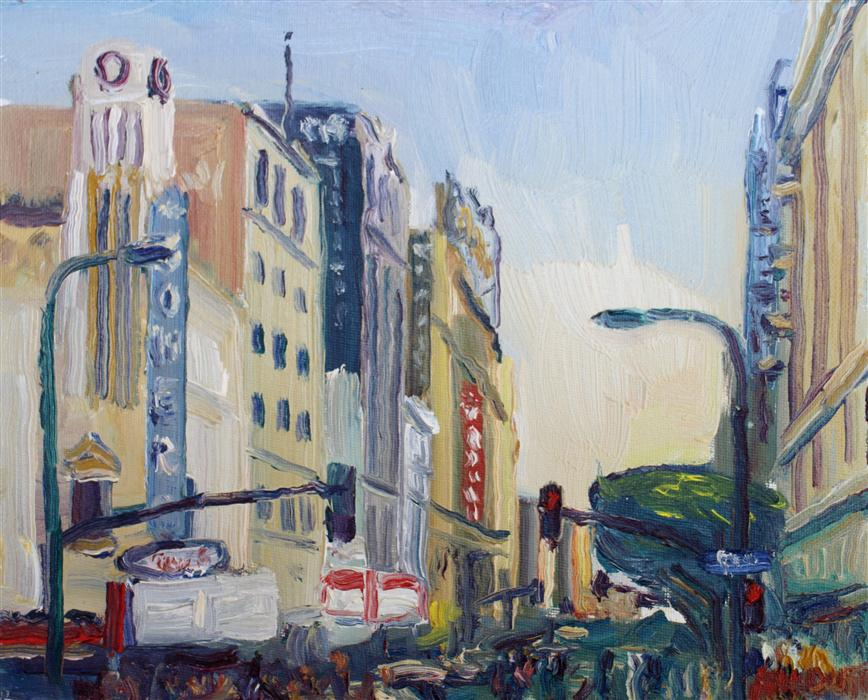 Original art for sale at UGallery.com | 8th & Broadway Streets by JOHN KILDUFF | $475 |  | 8' h x 10' w | ..\art\oil-painting-8th-Broadway-Streets