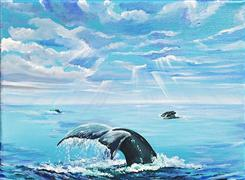 Children's art,Animals art,Seascape art,acrylic painting,Ocean Magic