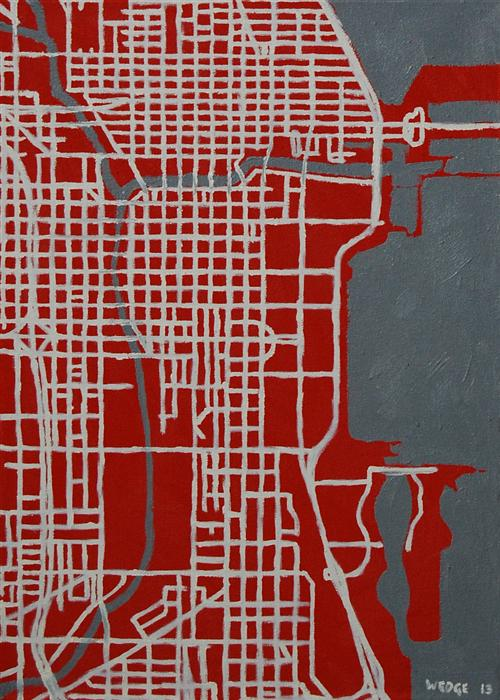 Original art for sale at UGallery.com | Red/Gray Layout (Chicago) by MICHAEL WEDGE | $525 | Oil painting | 21' h x 15' w | ..\art\oil-painting-Red-Gray-Layout-Chicago