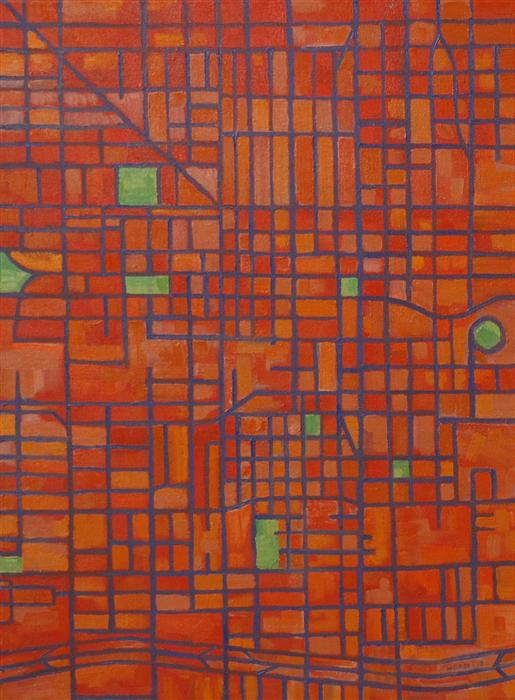 Original art for sale at UGallery.com | Secondary Grid (Phoenix) by MICHAEL WEDGE | $750 |  | 31' h x 23' w | ..\art\oil-painting-Secondary-Grid-Phoenix