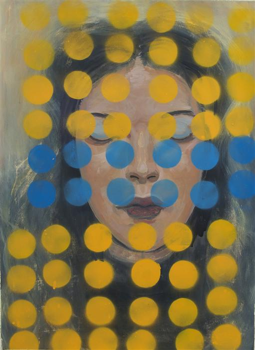 Original art for sale at UGallery.com | Yellow Dots by STEPHEN POLING | $1,700 | Acrylic painting | 30' h x 22' w | ..\art\acrylic-painting-Yellow-Dots-32937