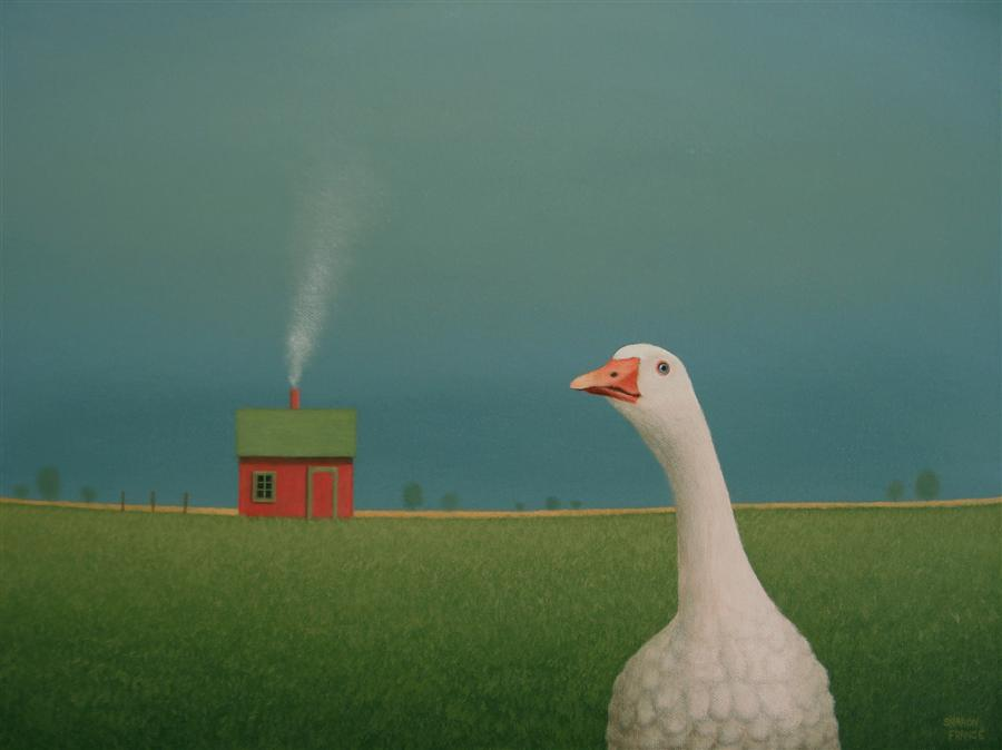 Original art for sale at UGallery.com | Shed Beyond the White Goose by SHARON  FRANCE | $980 | Acrylic painting | 12' h x 16' w | ..\art\acrylic-painting-Shed-Beyond-the-White-Goose