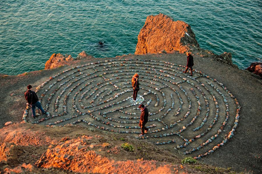 Original art for sale at UGallery.com | Labyrinth at Land's End by Mathew Lodge | $425 | photography | 36' h x 24' w | ..\art\photography-Labyrinth-at-Land-s-End